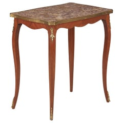 French Louis XV Style Cherrywood and Marble-Top Side Table, 1940s
