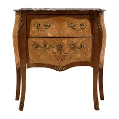 French Louis XV Style Chest with Rouge Royal Marble
