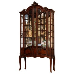 French Louis XV Style China Cabinet, 19th Century Vitrine