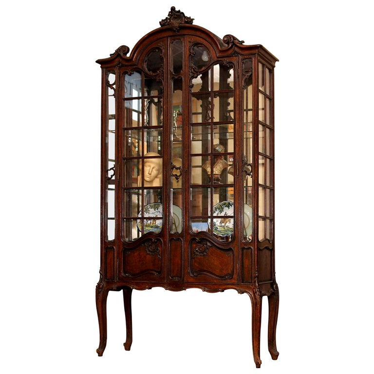 French Louis XV Style China Cabinet, 19th Century Vitrine For Sale