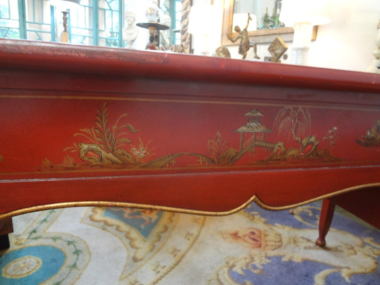 French Louis XV Style Chinoiserie Desk or Bureau Plat For Sale 7