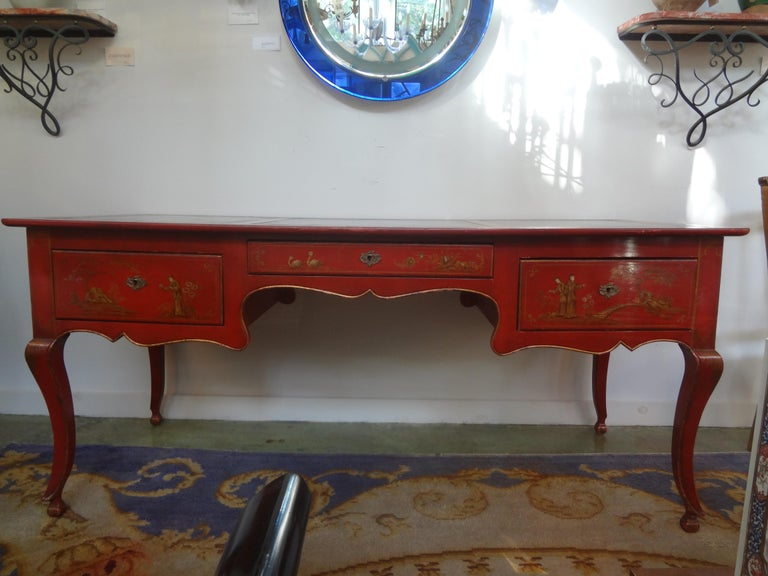 Painted French Louis XV Style Chinoiserie Desk or Bureau Plat For Sale