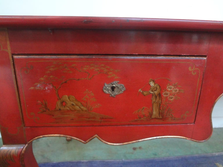 Early 20th Century French Louis XV Style Chinoiserie Desk or Bureau Plat For Sale