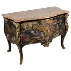 French Louis XV Style Chinoserie Lacquer Commode