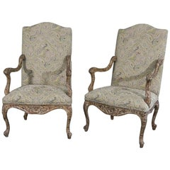 French Louis XV Style Chippy White Paint Distressed Armchairs Fauteuils C1990