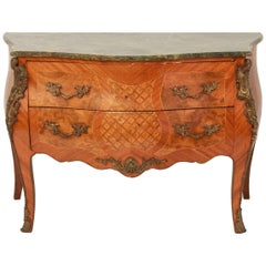 French Louis XV Style Commode with Green Marble Top