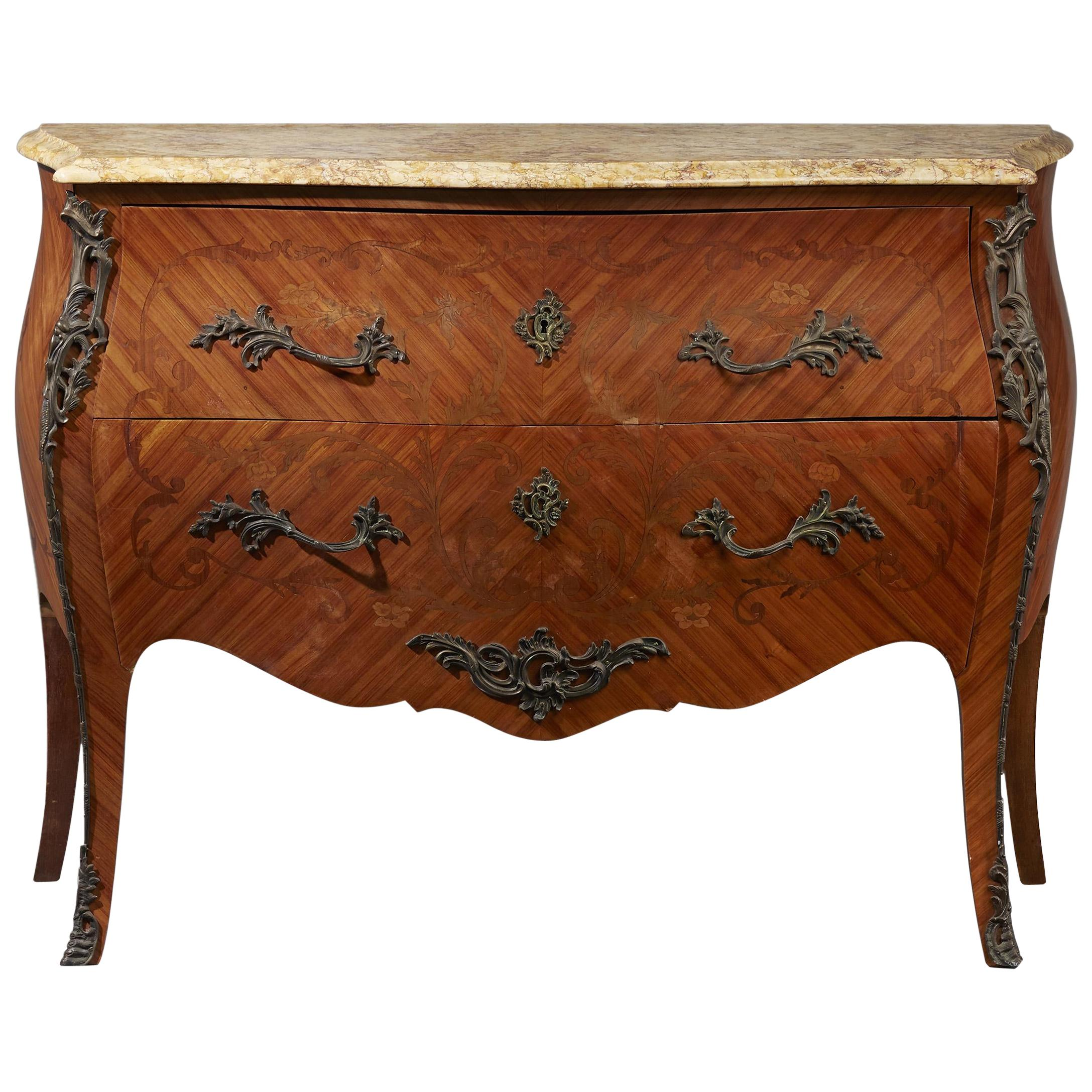 French Louis XV Style Commode with Marble Top