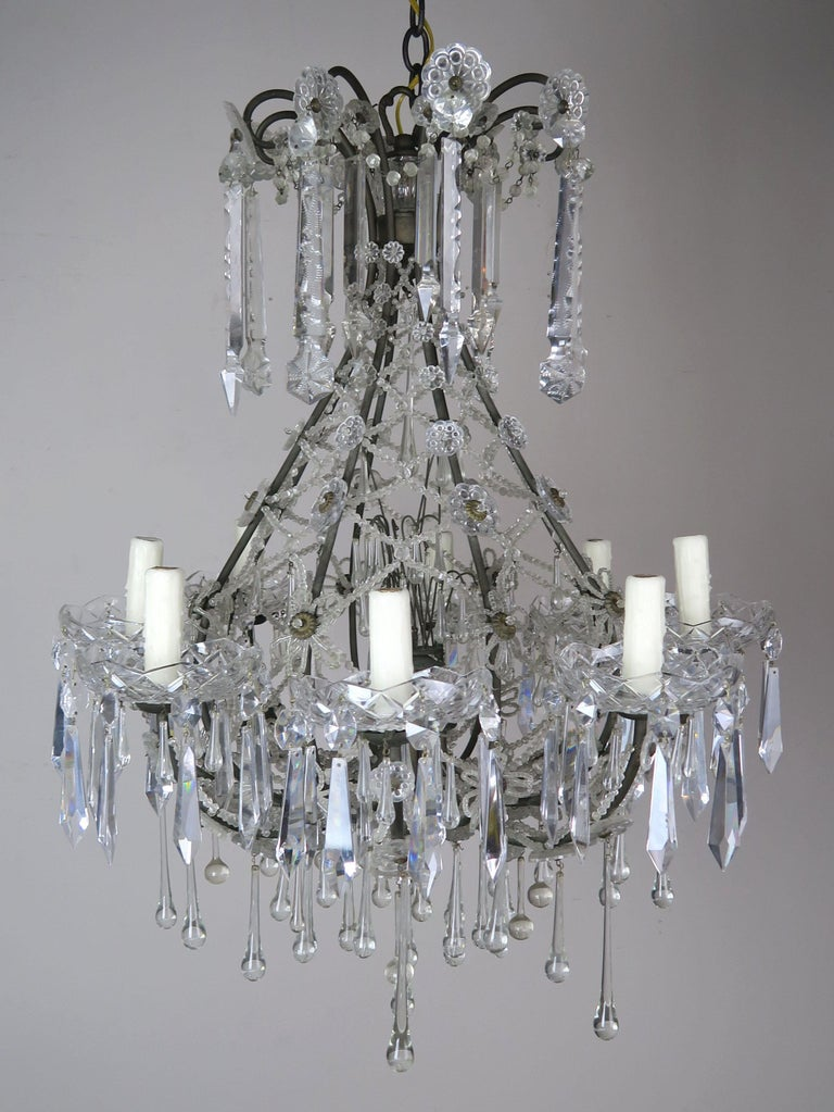 French Louis XV Style Crystal Chandelier, circa 1940s For Sale 4