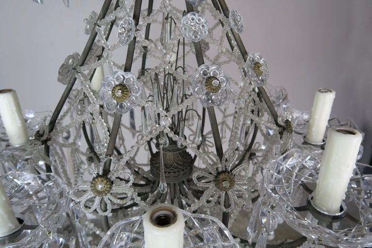 French Louis XV Style Crystal Chandelier, circa 1940s For Sale 7