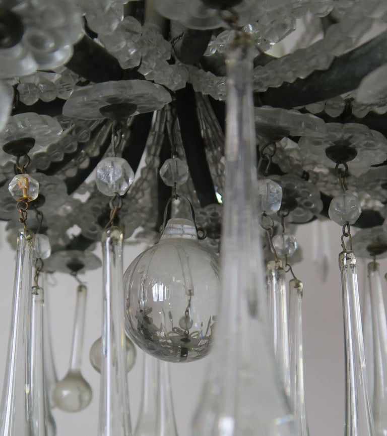 French Louis XV Style Crystal Chandelier, circa 1940s In Good Condition For Sale In Los Angeles, CA