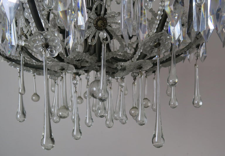 Mid-20th Century French Louis XV Style Crystal Chandelier, circa 1940s For Sale