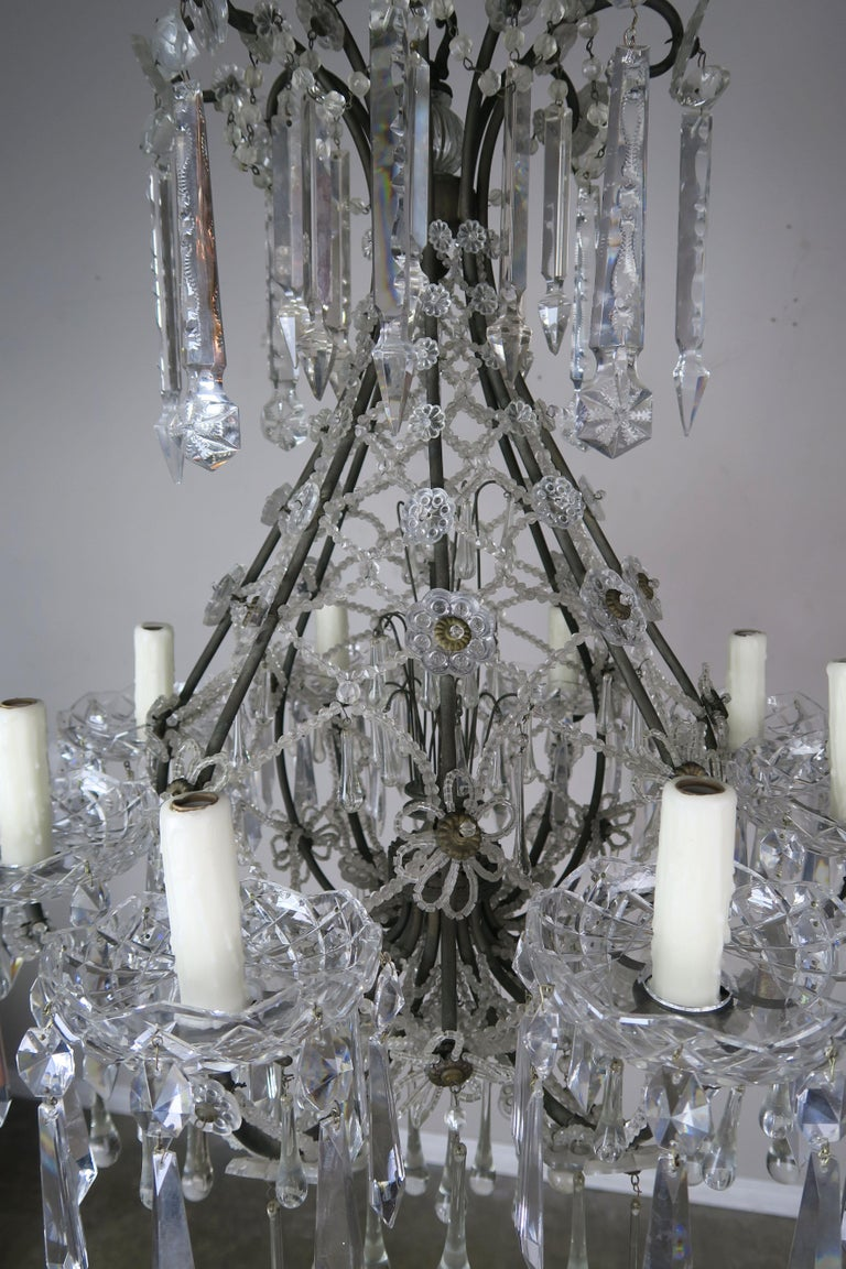 Brass French Louis XV Style Crystal Chandelier, circa 1940s For Sale