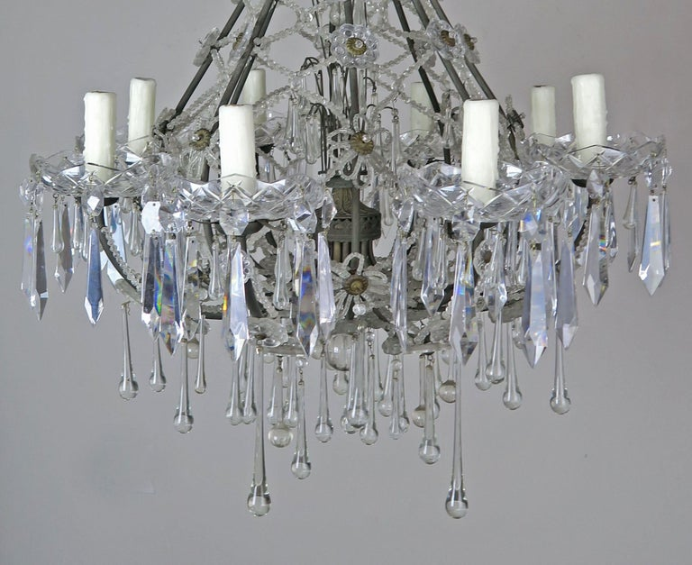 French Louis XV Style Crystal Chandelier, circa 1940s For Sale 2