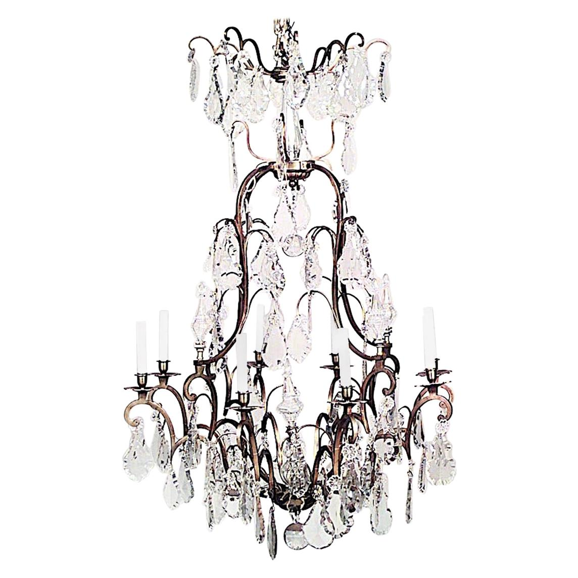 French Louis XV Style Bronze Dore and Crystal Chandelier