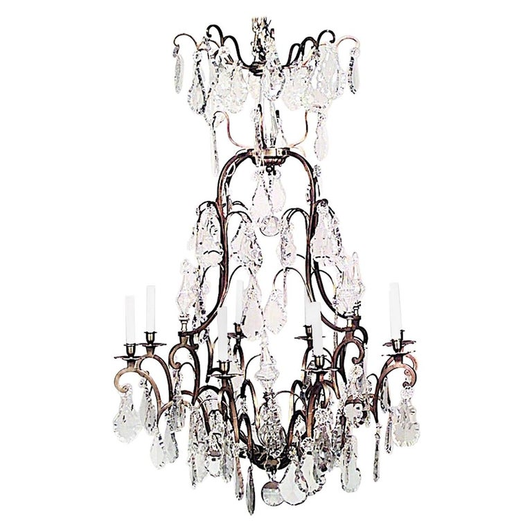 French Louis XV Style Crystal Chandelier For Sale