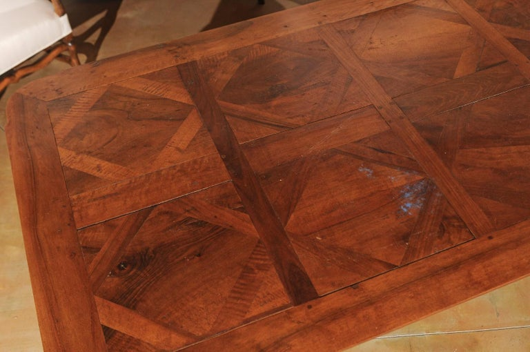 Contemporary French Louis XV Style Custom Dining Table from Lyon with Parquetry Inlaid Top