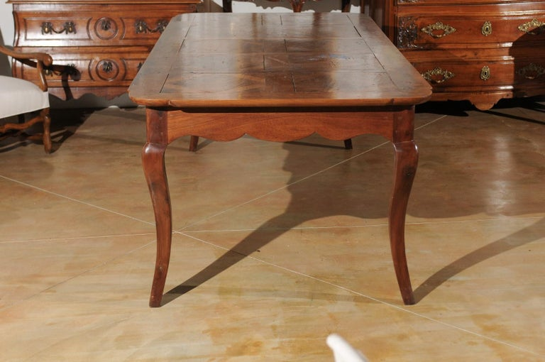 French Louis XV Style Custom Dining Table from Lyon with Parquetry Inlaid Top 1