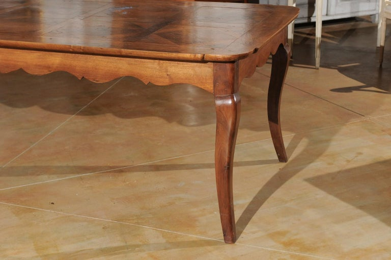 French Louis XV Style Custom Dining Table from Lyon with Parquetry Inlaid Top 3