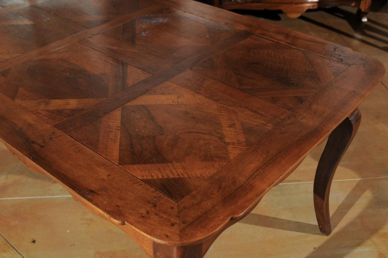 French Louis XV Style Custom Dining Table from Lyon with Parquetry Inlaid Top 4
