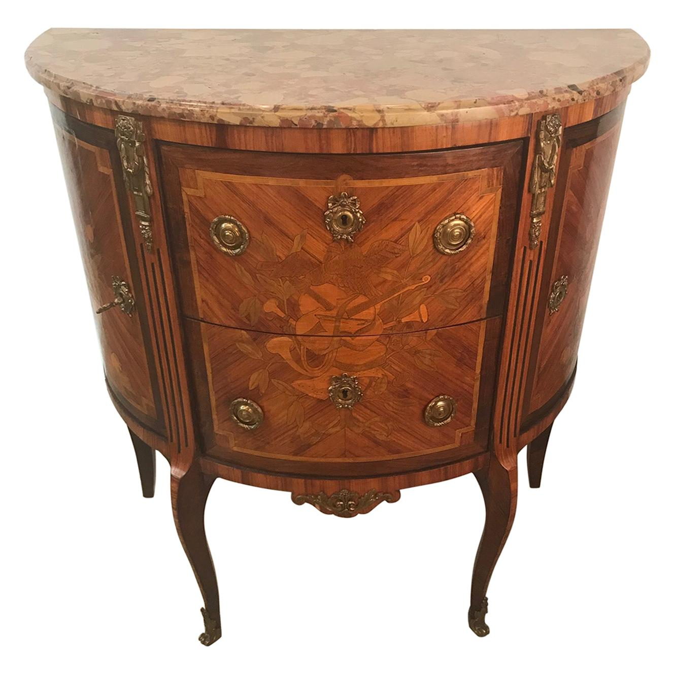French Louis XV Style Demi-Lune Commode with Marble Top