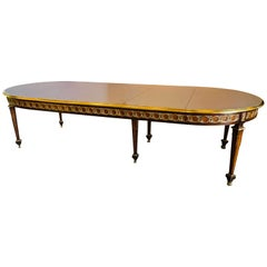 French Louis XVi Style Circular Oval Dining-room Table with Three Leaves