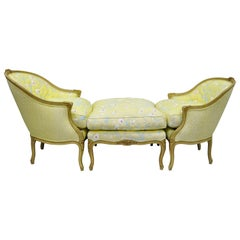 French Louis XV Style Duchesse Brisee Chaise Pair of Bergere Chairs and Ottoman