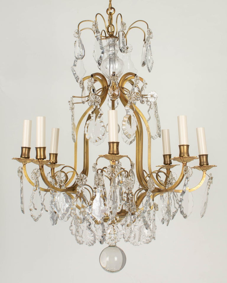 French Louis XV Style Eight-Light Crystal Chandelier In Good Condition For Sale In Winter Park, FL