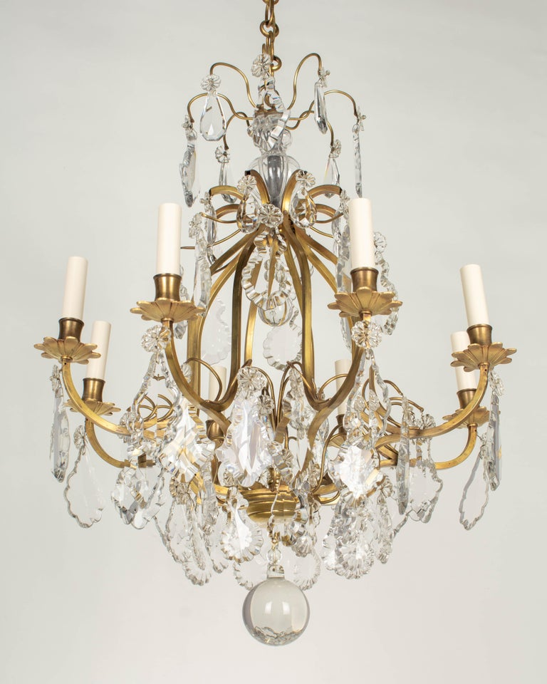 20th Century French Louis XV Style Eight-Light Crystal Chandelier For Sale