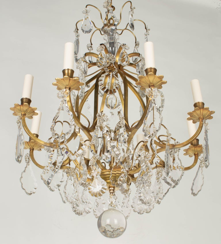 Brass French Louis XV Style Eight-Light Crystal Chandelier For Sale