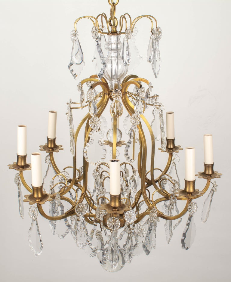 French Louis XV Style Eight-Light Crystal Chandelier For Sale 4