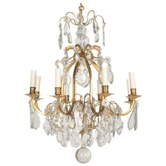 French Louis XV Style Eight-Light Crystal Chandelier