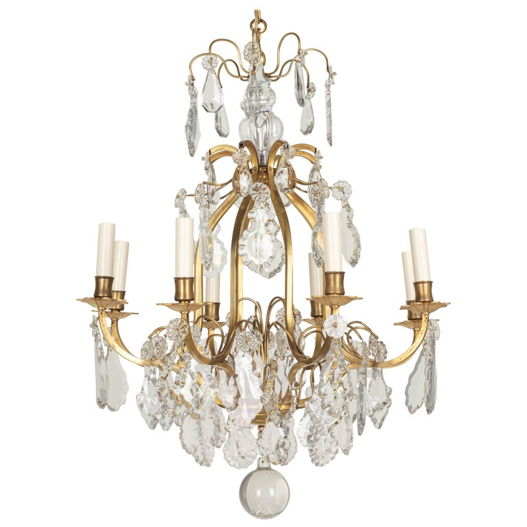 French Louis XV Style Eight-Light Crystal Chandelier For Sale
