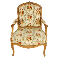French Louis XV Style Fauteuil in Petit Point
