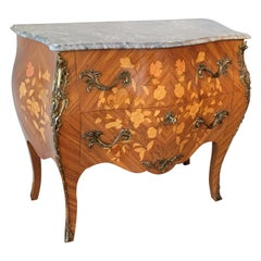 French Louis XV Style Fine Kingwood and Marquetry Ormolu Mounted Bombe Commode
