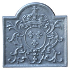 French Louis XV Style Fireback with the Coat of Arms of France