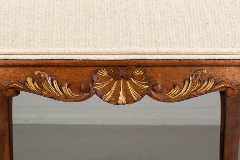 Walnut French Louis XV Style Foot Stool or Bench For Sale