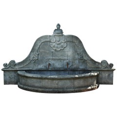 French Louis XV Style Fountain, Handcrafted in Pure Limestone, Antique Patina