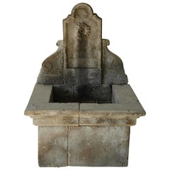 French Louis XV Style Fountain Handcrafted Pure Limestone Antique Patina