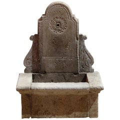 French Louis XV Style Fountain in Pure Limestone with Antique Patina