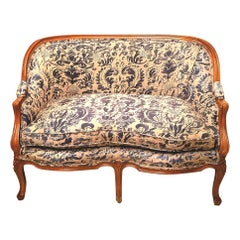 French Louis XV Style Fruitwood Loveseat with Fortuny Blue Corone Fabric
