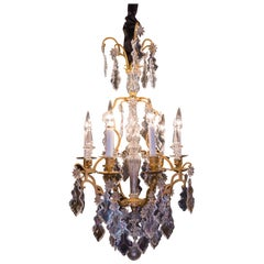 French Louis XV Style Gilt-Bronze and Cut Crystal Chandelier, circa 1880-1890