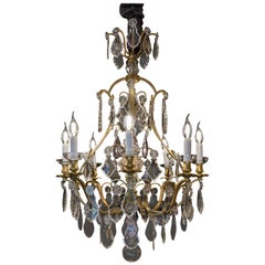 French Louis XV Style Gilt-Bronze and Cut Crystal Chandelier, circa 1920