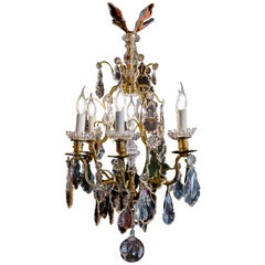 French Louis XV Style Gilt-Bronze & Cut Crystal Small Chandelier circa 1880-1890