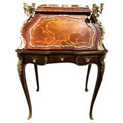 French Louis XV-Style Gilt Bronze Mahogany and Tulipwood Mounted Writing Desk