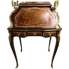 French Louis XV Style Gilt Bronze Mahogany and Tulipwood Mounted Writing Desk