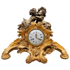 French Louis XV Style Gilt Bronze Mantle Clock, circa 1880