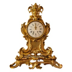 French Louis XV Style Gilt Bronze Mantle Clock