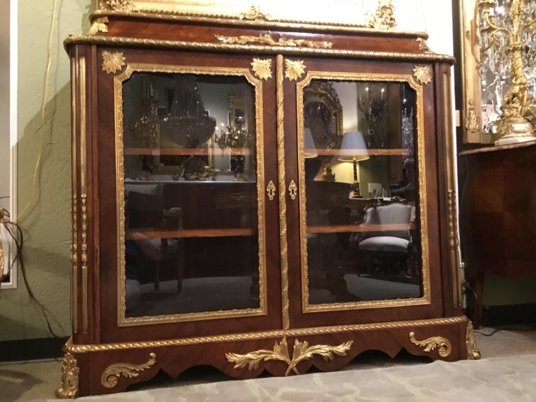 French Louis XV Style Gilt Bronze Mounted Two Door Vitrine/Bookcase 19th Century For Sale 9