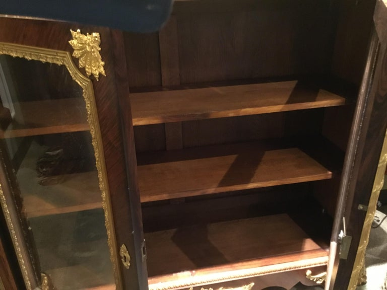 French Louis XV Style Gilt Bronze Mounted Two Door Vitrine/Bookcase 19th Century For Sale 14