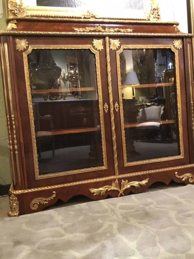 French Louis XV Style Gilt Bronze Mounted Two Door Vitrine/Bookcase 19th Century For Sale 5